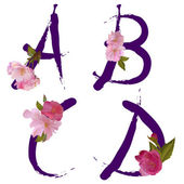 Vector spring alphabet with sakura flowers letters A,B,C,D — Stock Vector