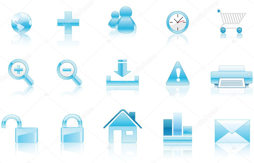 Collection of vector icons aqua style ready to be used. — Stock Vector #4038195