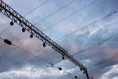 Power line of electric trains — Stock Photo
