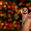 Royalty-Free Stock Photo: Halloween pumpkin Finger hug