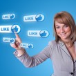 Woman hand pressing Social Network icon — Stock Photo