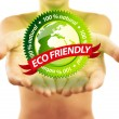 Hands holding eco friendly sign — Stock Photo