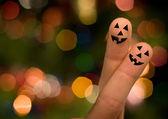 Halloween pumpkin finger hug — Foto de Stock