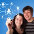 Diagram showing social networking concept — Stock Photo
