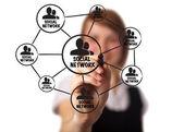 Empresario dibujar un esquema de red social en una pizarra 2 — Foto de Stock