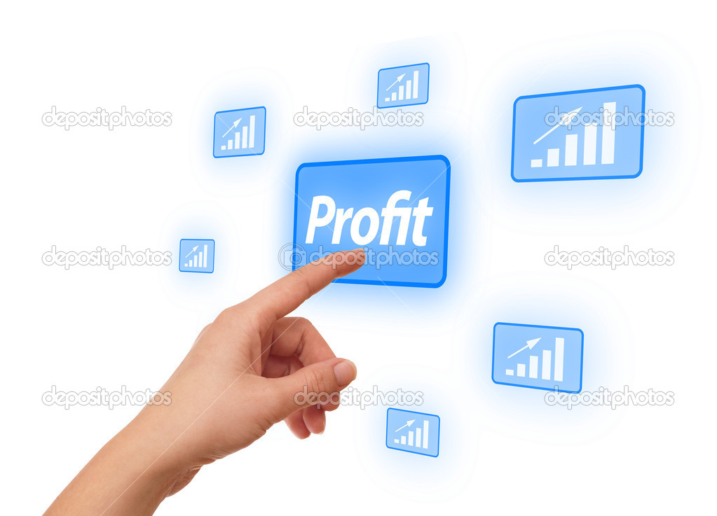 Woman hand pressing Profit button — Stock Photo #5232435