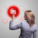 Hand pressing BIG SALE icon — Stock Photo