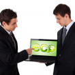 Business man pointing at eco laptop — Stock Photo