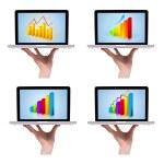 colección de gráficos coloridos dimensional en portátil 1 — Foto de Stock