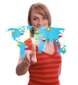 Woman hand pressing Social network icon 2 — Stock Photo