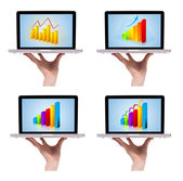 Dimensional colorful chart collection in laptop 1 — Stock Photo