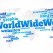 Stok Vektör: World wide web global word cloud