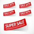 Stock Vector: RED SALE LABELS