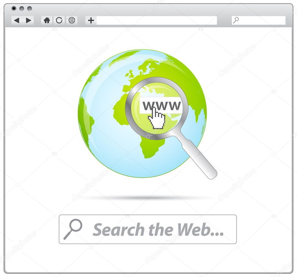 Web browser with search the web and earth icon  ON WHITE  Stock Vector #5303187