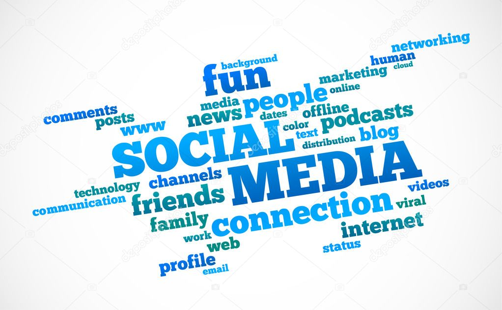Social media text cloud on white  Vektorgrafik #5303198