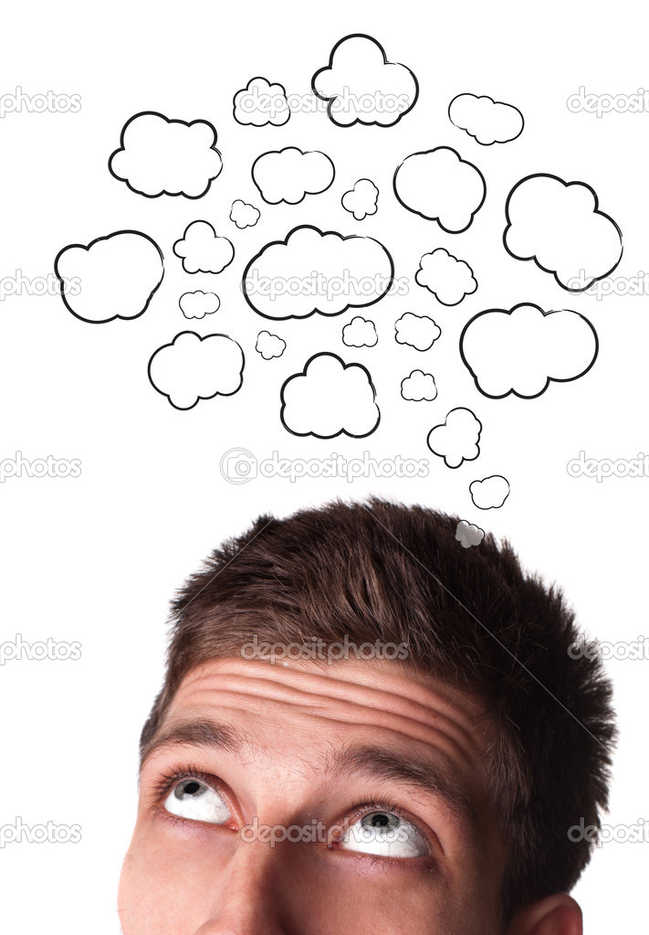 Young man with Speech Bubbles over his head, isolated on white background  Stock Photo #5347775