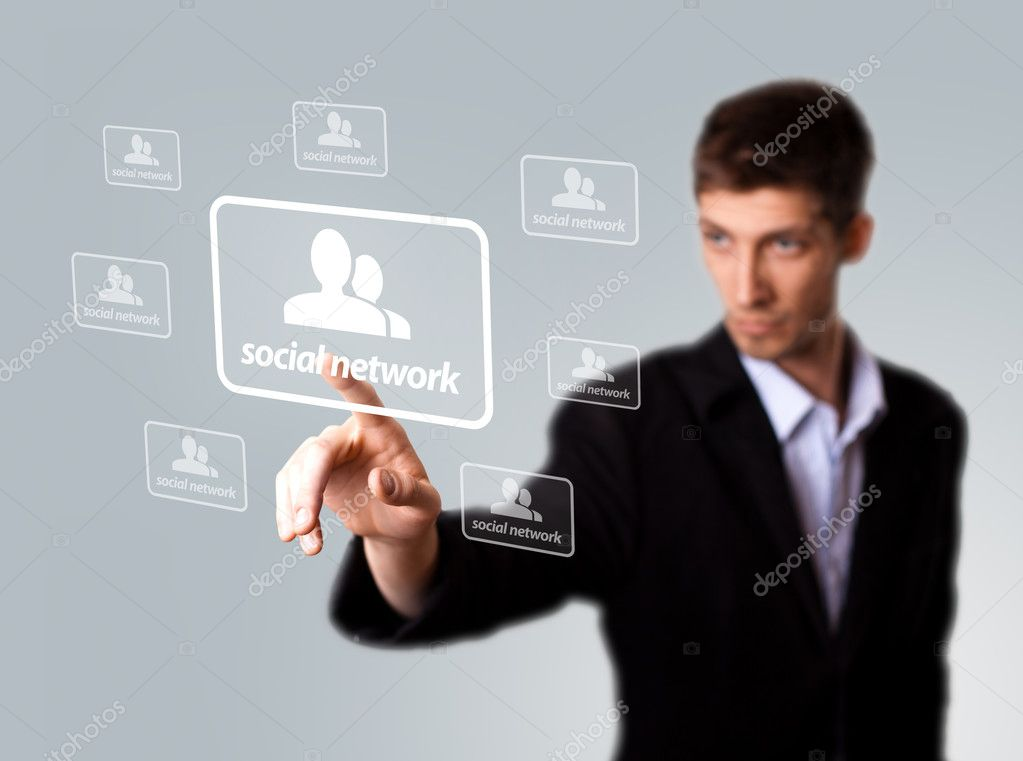 Businessman hand pressing Social network sign . selective focus — Stock Photo #5347790
