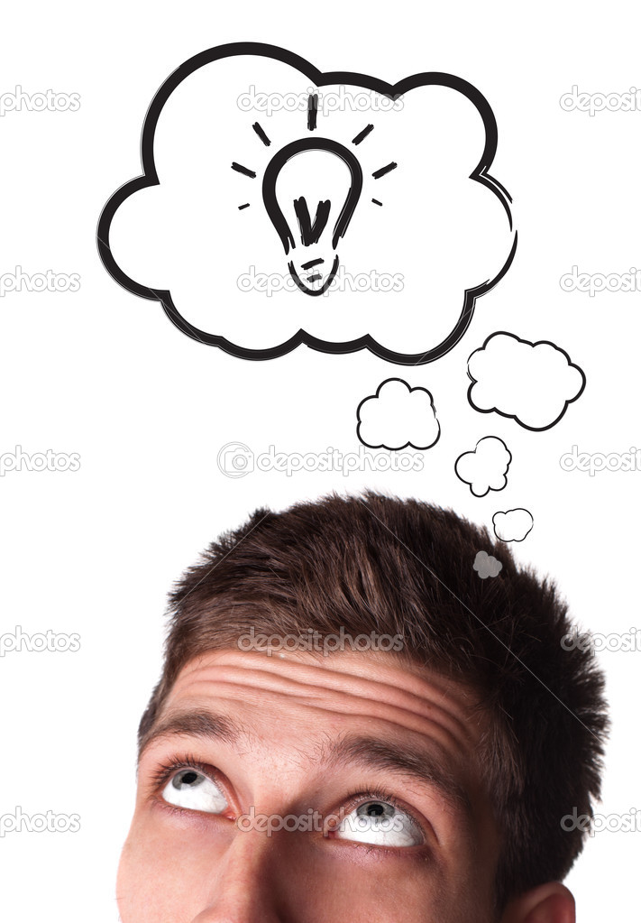Young man with Speech Bubbles over his head, isolated on white background — Stock Photo #5351494