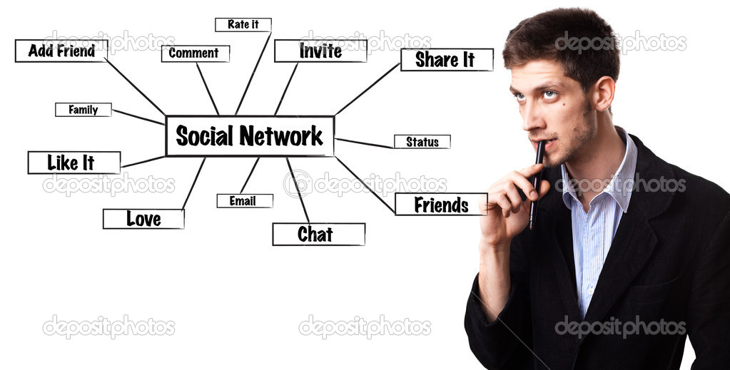 Young man analysing social network schema on the whiteboard — Stock Photo #5351501