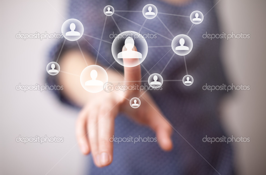 Woman hand pressing social media icon  Stock Photo #5351619