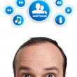 Young man with ADD FRIEND mark over his head — Stock Photo #5365451
