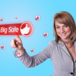 Woman pressing BIG SALE button — Stock Photo #5366790