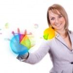 Businesswoman hand pressing pie chart button — Stock Photo