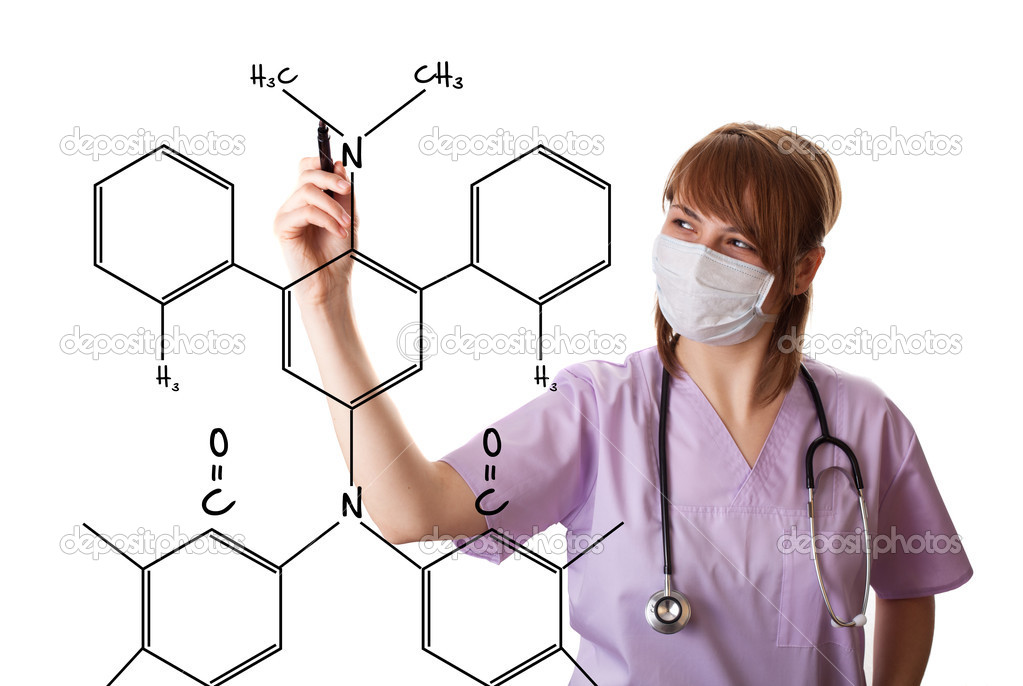 Young doctor is drawing some medical graphics. isolated on white background — Stock Photo #5364013
