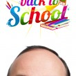 Young man with BACK TO SCHOOL sign over his head — Stock Photo #5377062