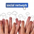 Happy group of finger smileys with social network icon — Foto de Stock