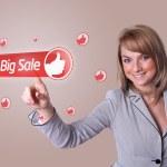 Woman pressing BIG SALE button — Stock Photo #5377099