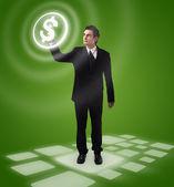 Negócios homem pressionar o botão — Foto Stock