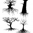 Four different Old tree Silhouettes with roots — 图库矢量图片