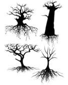 Four different Old tree Silhouettes with roots — Vettoriale Stock
