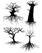 Fyra olika gamla träd silhuetter med rötter — Stockvektor