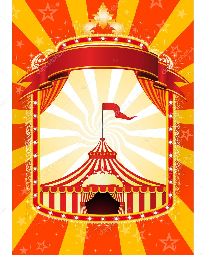 Advertising poster with banner and Big Top Circus — Stock Vector #3993342