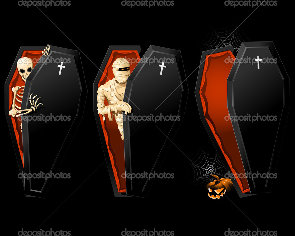Halloween poster with Coffin and Skeleton inside — Stock Vector #3993349