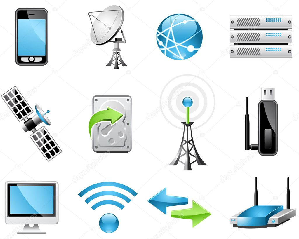Wireless Technology and Global communication icons — Stock Vector #3993353