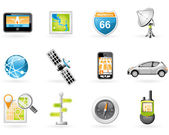 Gps und navigation icon-set — Stockvektor