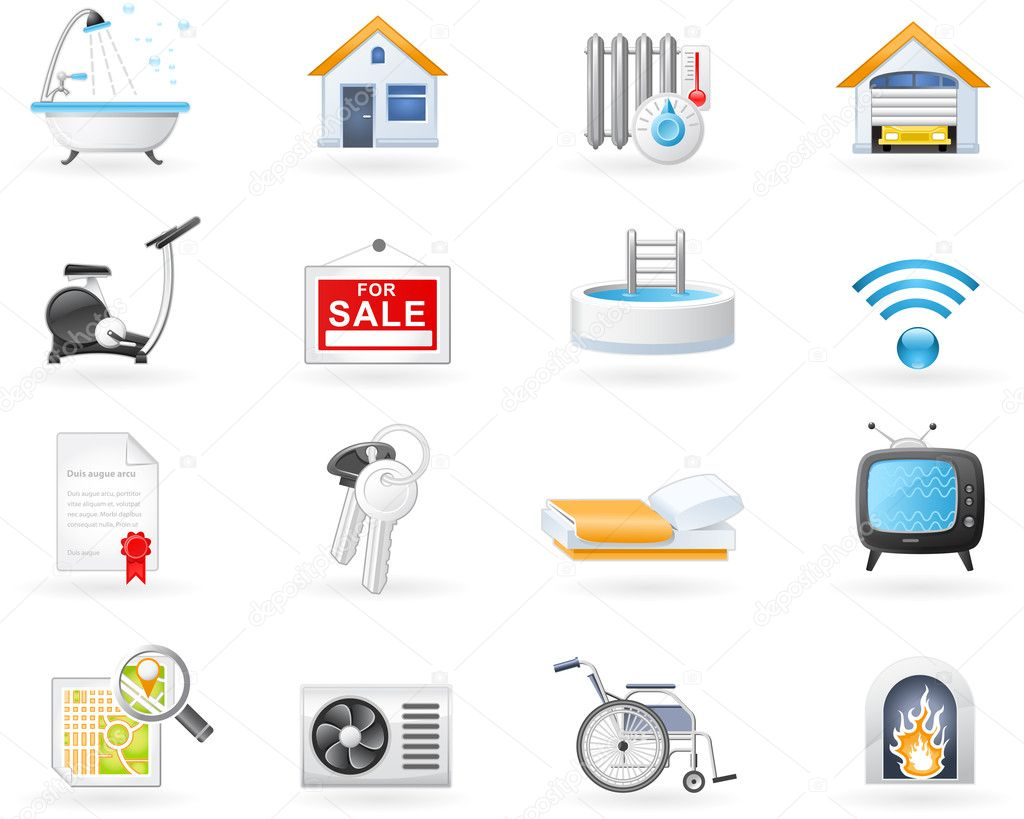 Real Estate and Accommodation amenities icon set  — Stock Vector #4140295