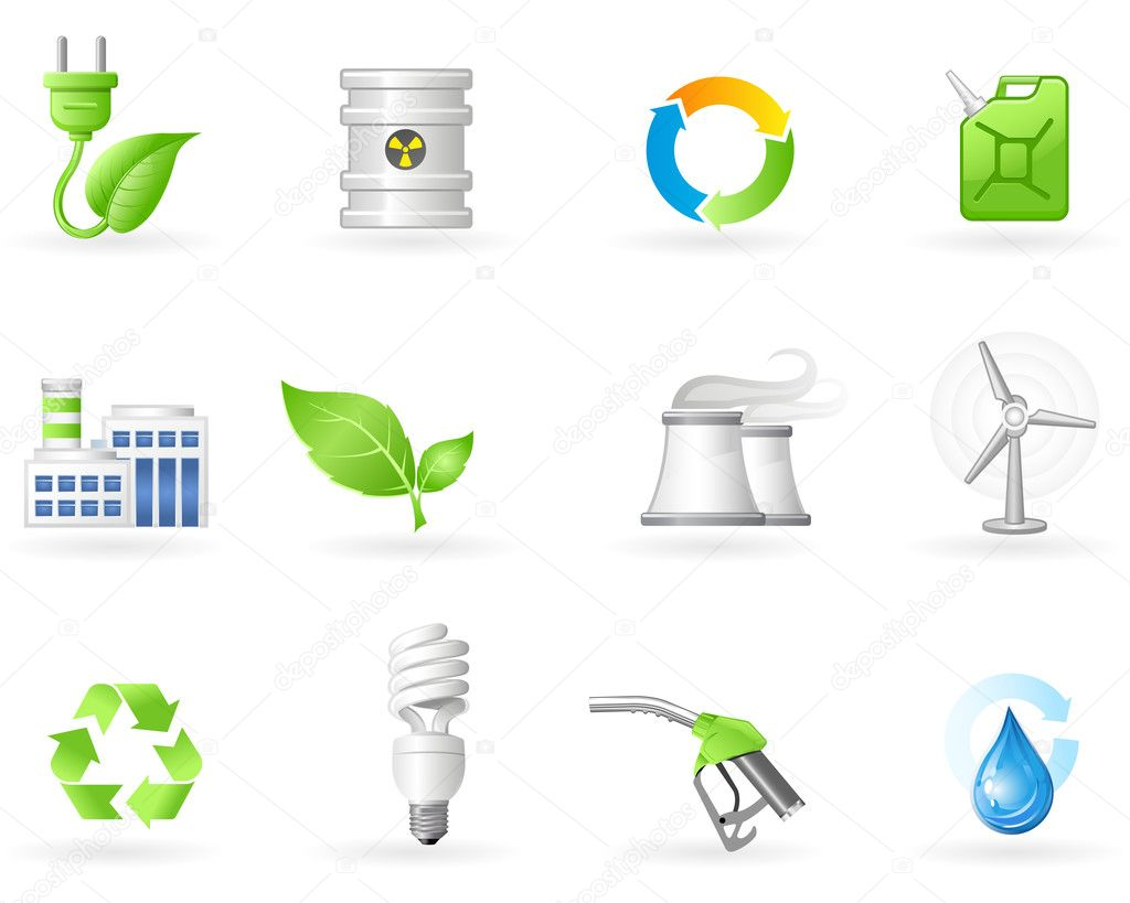 Air Pollution and Green Energy icon set — Stock Vector #4192457