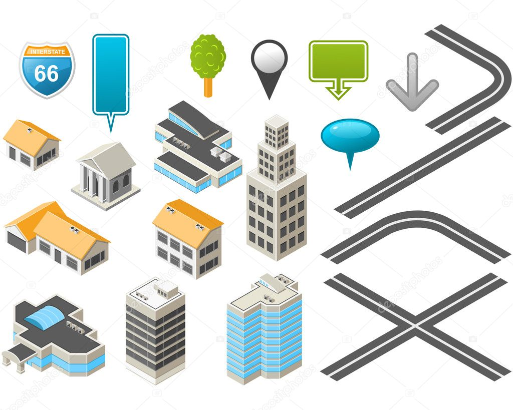 Map toolkit with Isometric Buildings and Roads   Stock Vector #4348081