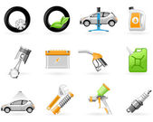 Carro de serviço e reparação de conjunto de ícones — Vetorial Stock