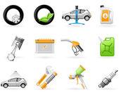 Servizio auto e riparazione set di icone — Vettoriale Stock