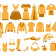 Woman's clothes icons — Stock Vector