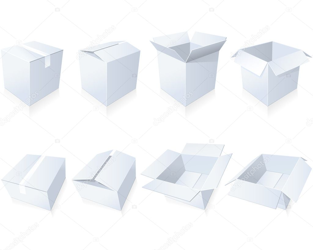 Blank cardboard  boxes in different positions and styles  Stock Vector #4553536