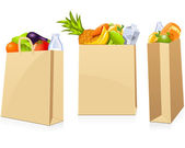 Grocery shopping bags — Vettoriale Stock