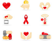 Donation and charity icons — Stock Vector
