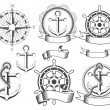 Nautical emblems — Stok Vektör