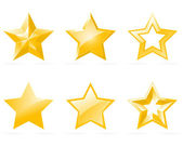 Conjunto de iconos de estrellas brillantes — Vector de stock